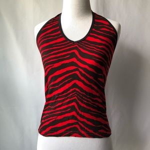579 Red Zebra Halter Top